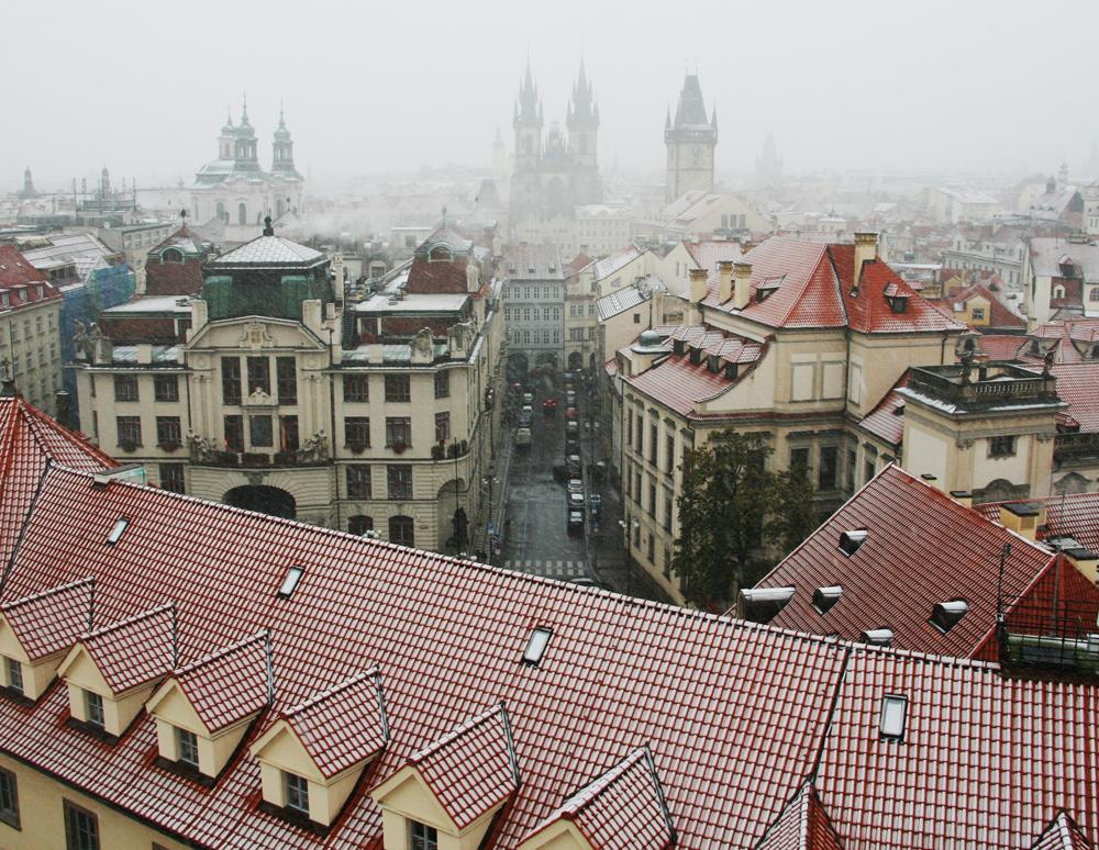 Prague, Vue du Clementinium, Église de Notre-Dame de Týn